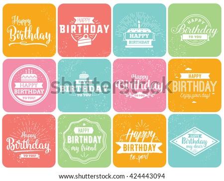 happy birthday typographic set