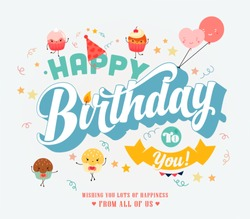 Happy Birthday Typographical Background