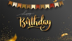 Happy Birthday typography design for greeting cards and invitation, with balloon, confetti and gift box, elegant design with gold and black color, design template for birthday celebration.