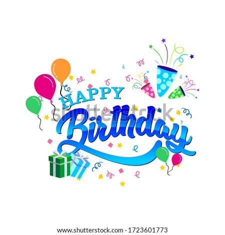 Happy Birthday typography vector design.design template for birthday celebration.