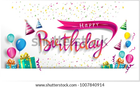 happy birthday party celebration poster design with balloons and