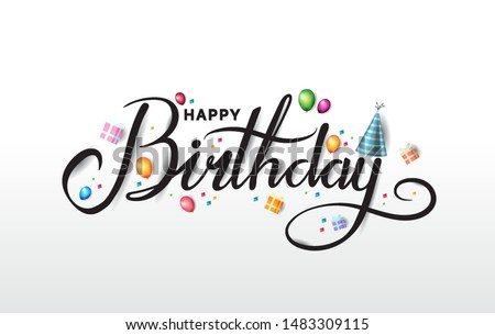 Happy Birthday typography with party element isolated on white background for  birthday celebration Stock foto ©