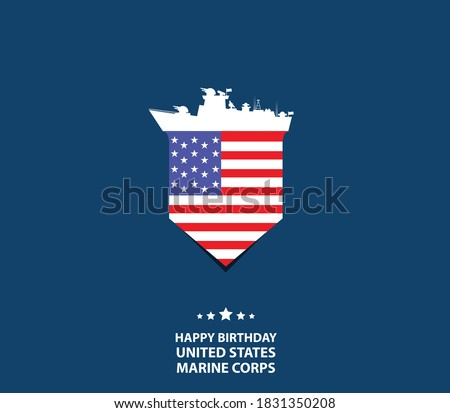 Happy Birthday United States Marine Corps. Holiday concept. Template for background, banner, card, poster with text inscription. Vector EPS10 illustration Photo stock ©