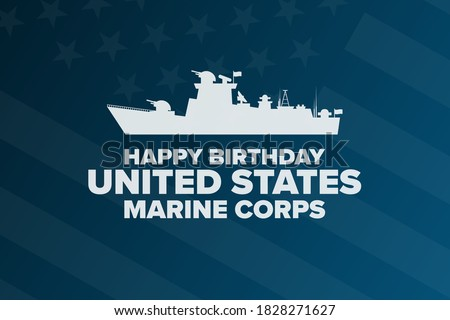 Happy Birthday United States Marine Corps. November 10. Holiday concept. Template for background, banner, card, poster with text inscription. Vector EPS10 illustration Photo stock ©