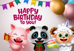 Happy birthday vector animal kids party. Happy birthday greeting text with animal characters like pig, bear and lamb holding party elements of cake, gifts, balloons, hat and pennants in white.