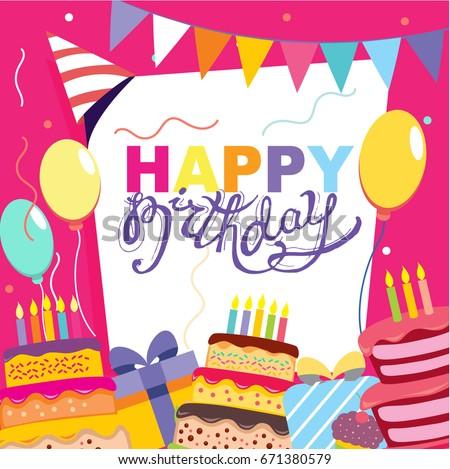 Happy birthday card invitation download free vector art stock happy birthday vector card hand drawn vector illustration invitation template design stopboris Choice Image