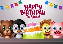Happy birthday vector kids animal party concept. Happy birthday greeting text with cake element and kids animal characters of bear, penguin, lion and pig character with excited facial expression.