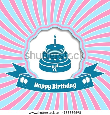 Happy birthday vector vintage card with sun rays background