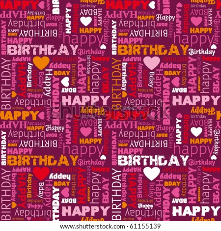 Happy birthday wishes card background pattern in vector - stock vector