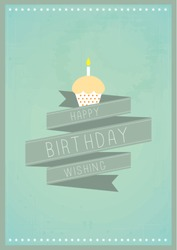 happy birthday with cupcake poster template vector/illustration / layout design/ background/ greeting card