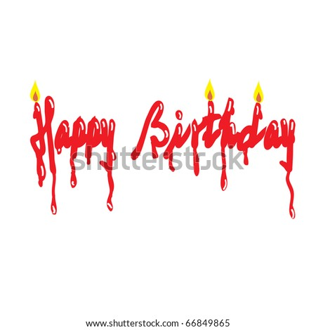 Happy Birthday Word Designed With Candle Design Stock V