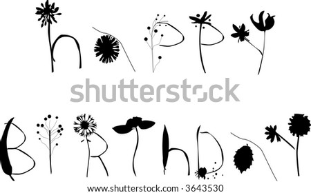 stock vector : HAPPY BIRTHDAY writing in a font vector flower