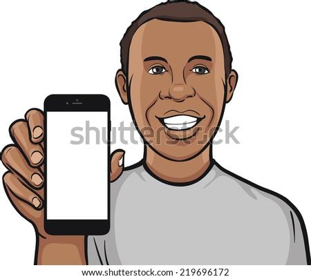 happy black man showing a