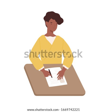Happy black woman write paper document sitting on table vector graphic illustration. Positive dark skin female fill in questionnaire holding pen isolated on white background. Girl writing letter