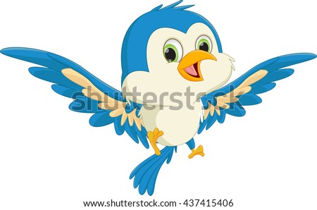 happy blue bird cartoon flying