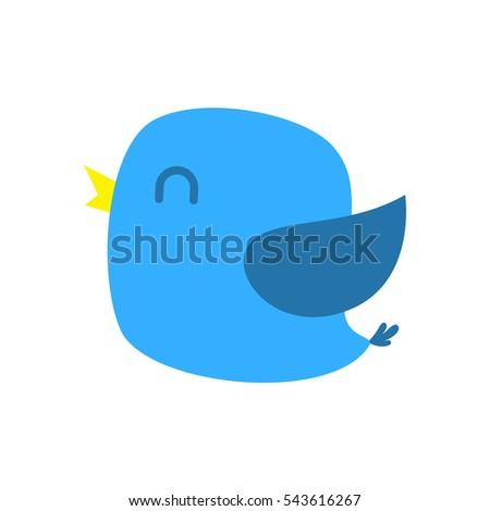 happy blue bird vector