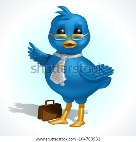 Happy blue business bird pointing right, with glasses, tie and briefcase
