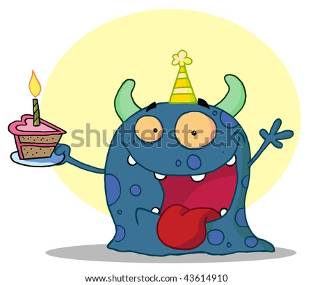 Happy blue monster celebrates birthday with cake