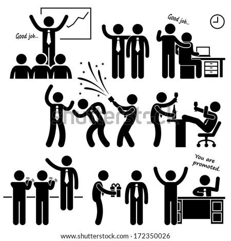 Happy Boss Rewarding Employee Stick Figure Pictogram Icon