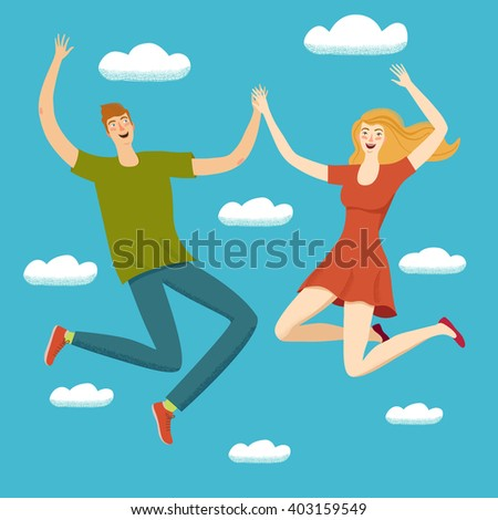 happy boy and girl jumping
