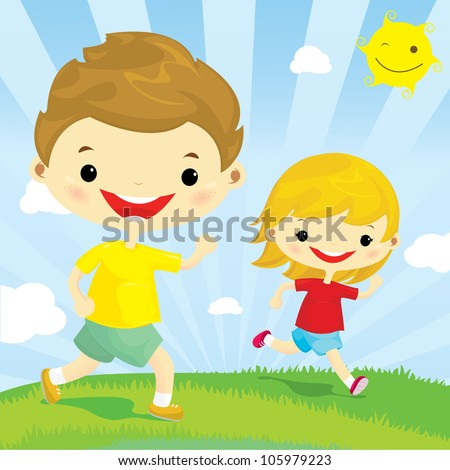 happy boy and girl running in