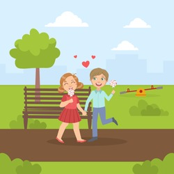 Happy Boy and Girl Walking in the Park and Eating Lollipops, Friendship and Love Between Kids, Happy Valentine Day Vector illustration
