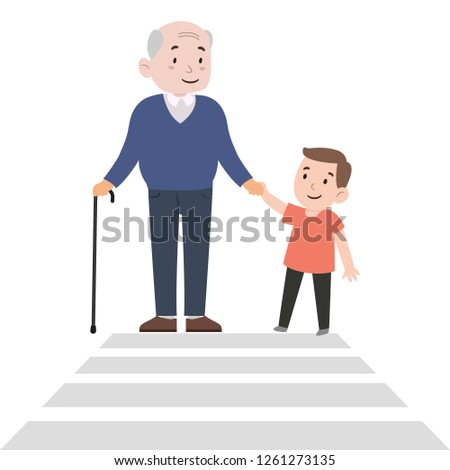 Happy boy helps grandfather cross the road. Safe life. Kindness consept. Color vector illustration