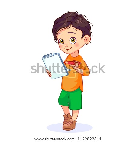 Happy boy holding a loose-leaf notebook and a red pencil. Isolated kids vector illustration on white background.