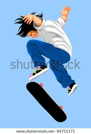 happy boy jumps on a skateboard