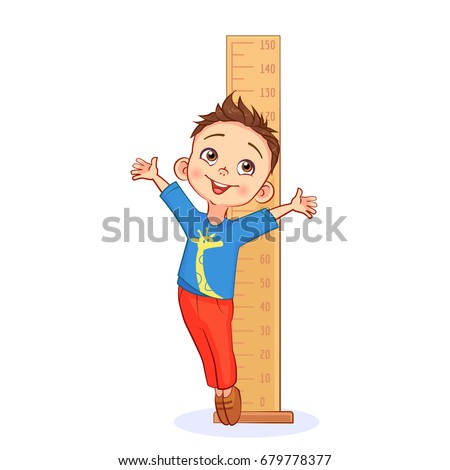 Happy boy measures his growth with a big ruler and stands on the tiptoe. Funny pediatric vector art on white background.