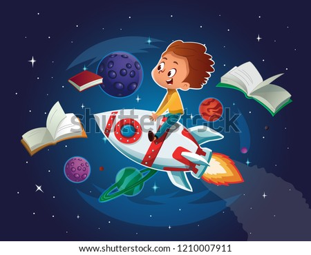 Happy Boy playing and imagine himself in space driving an toy space rocket. Books, planets, rocket and stars in a background. Vector cartoon illustration