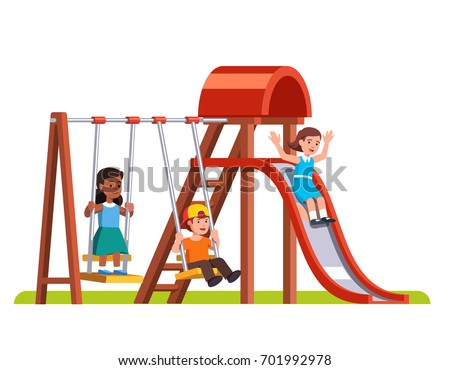 Happy boy swinging on swing, girl sliding down slide in public park or kindergarten playground. Preschool kids friends playing together outside. Flat style cartoon vector isolated illustration.