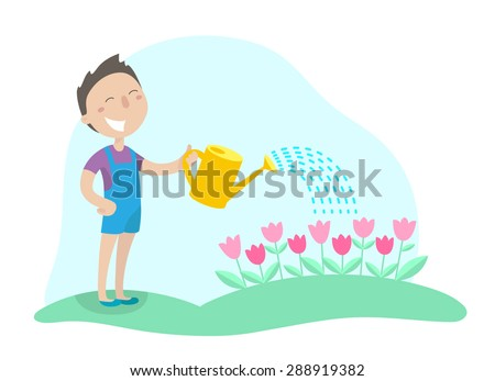 happy boy watering flowers from