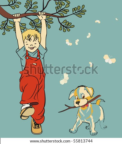 Happy boy with a dog - stock vector