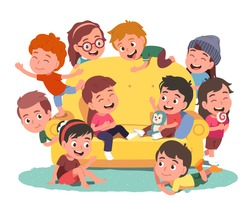 Happy boys, girls kids group playing around sofa having home party together. Many children persons sit, chat, laugh, grimace, talk, socialize. Kindergarten communication fun flat vector illustration