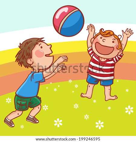 Happy Boys playing with ball. Summer activities. Sport. Children illustration for School books, magazines, advertising and more. Separate Objects. VECTOR.