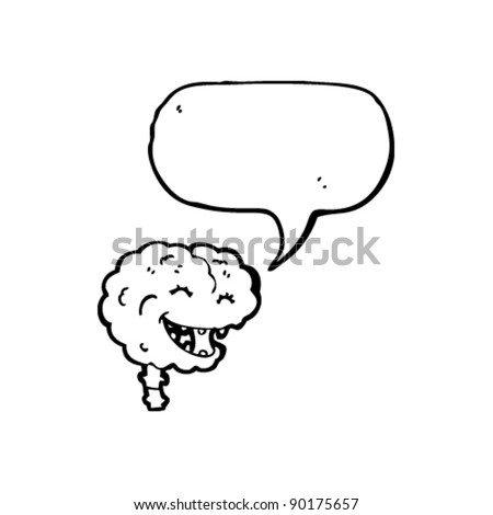 happy brain cartoon  with speech bubble