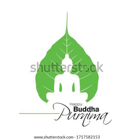 Happy Buddha Purnima Banner - Lord Buddha on Leaf - Illustration