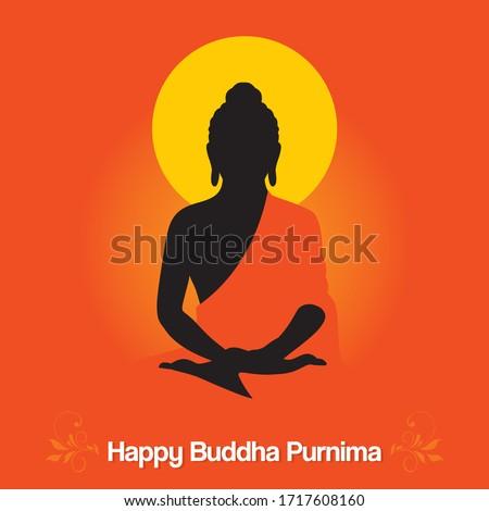 Happy Buddha Purnima Banner - Meditating Buddha  - Illustration