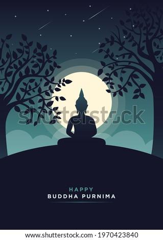 Happy Buddha Purnima Minimal Poster Vesak Lord Buddha in Meditation at Beautiful Moon Light Coming from Back- Vector