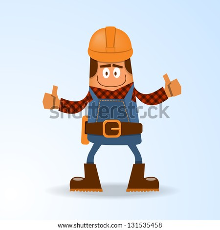 Happy builder. Vector illustration