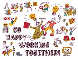 Happy business creative couple work ink. Doodles creative couple with business objects and icons isolate on white. Ink hand drawn color vector illustration. EPS8.