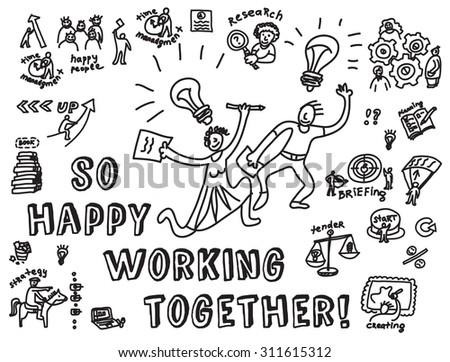 happy business creative couple