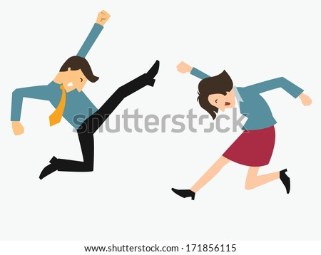 Happy business man and woman jumping in the air cheerfully. Feeling and emotion concept in happiness, winning, successful, or gain victory.