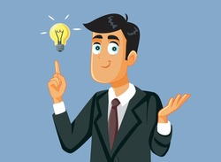 Happy Business Man Having a Brilliant Idea. Innovative manager envisioning a smart marketing strategy