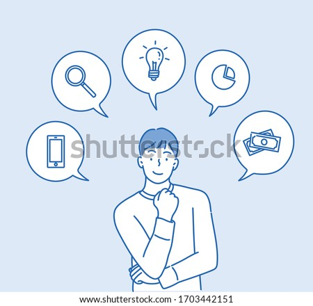 Happy business man, man talking about their expertise and ideas with icons in speech bubbles. Hand drawn style vector design illustrations.