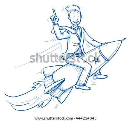 Happy business man riding on a fast rocket. Concept for winner, pioneer, innovation. Hand drawn line art cartoon vector illustration.