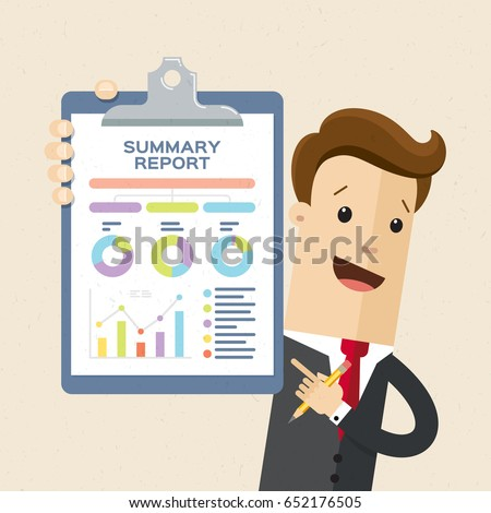 Happy business man shows finance report, business result. Man in suit hold clipboard in hand.  Vector, illustration, flat