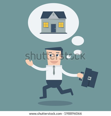 Happy Business man walking  with house in think bubble gonna go home