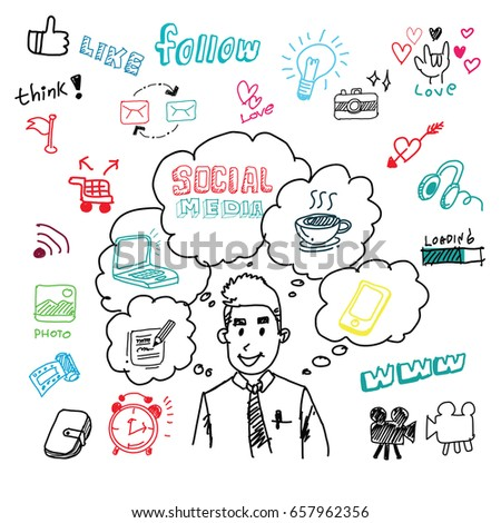 Happy business man, with arrows and strategy icons, concept for planning, Drawn line art cartoon vector illustration.idea Hand drawn sketch style. Hand drawn vector illustration set of social media .